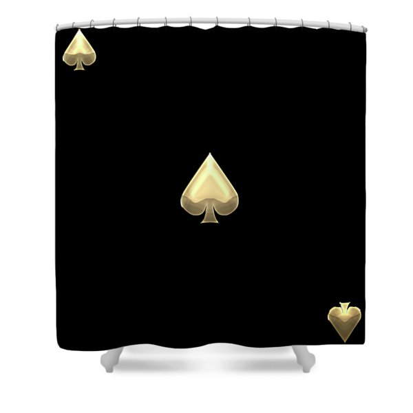 Ace Of Spades In Gold On Black   Shower Curtain
