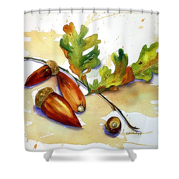 Acorns And Leaves Shower Curtain