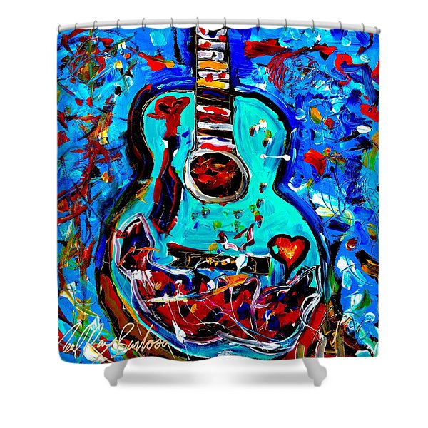 Acoustic Love Guitar Shower Curtain