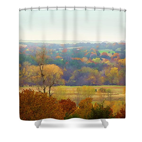 Across The River In Autumn Shower Curtain