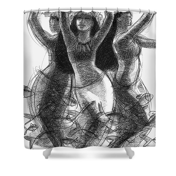 Action Song Dancers With Fish Pareu Shower Curtain