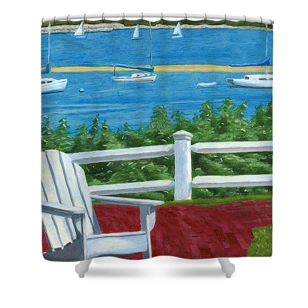 Shower Curtain featuring the drawing Adirondack Chair On Cape Cod by Dominic White
