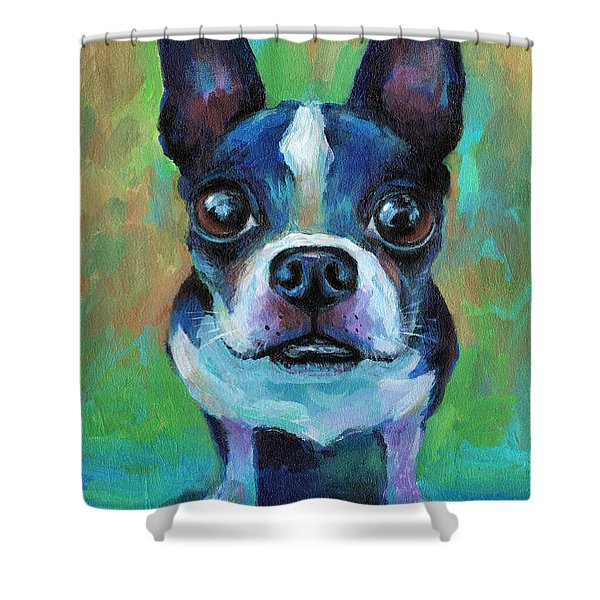 Adorable Boston Terrier Dog Shower Curtain