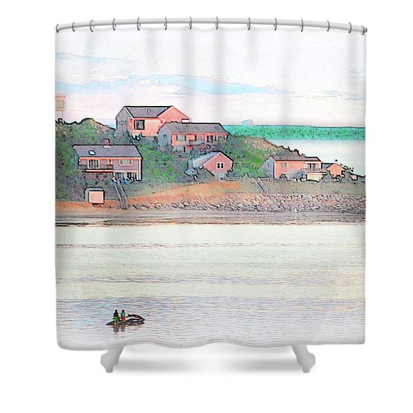 Adrift On The Bay At Sunset Shower Curtain