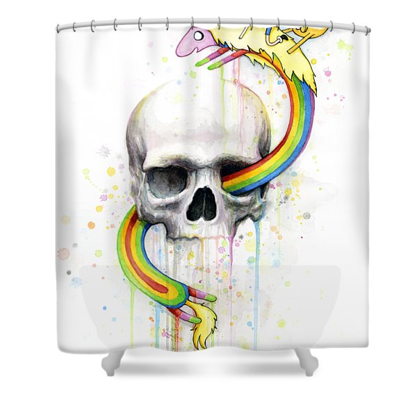 Adventure Time Skull Jake Finn Lady Rainicorn Watercolor Shower Curtain