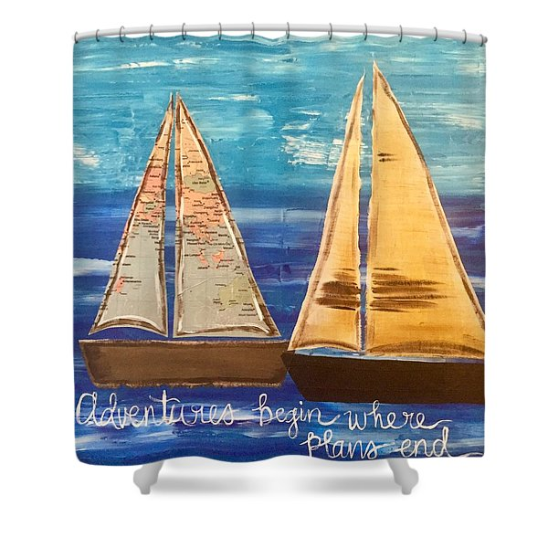 Adventures Begin Shower Curtain