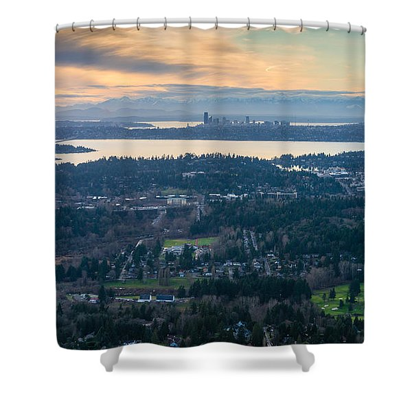 Aerial Bellevue And Seattle Skylines Shower Curtain