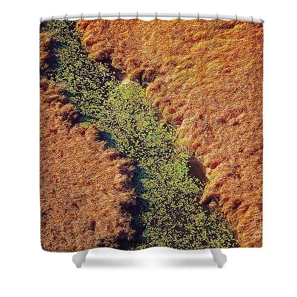Aerial Farm Stream Lillies  Shower Curtain