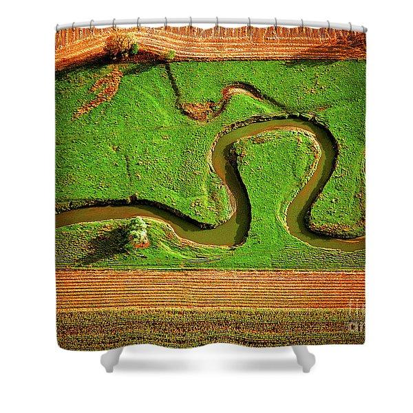aerial, farm, stream, northern, Illinois, farms, meandering  Shower Curtain