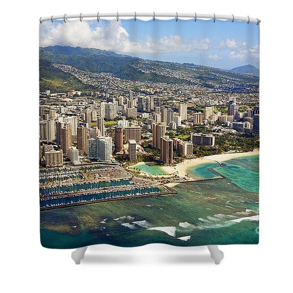 Aerial Of Honolulu Shower Curtain
