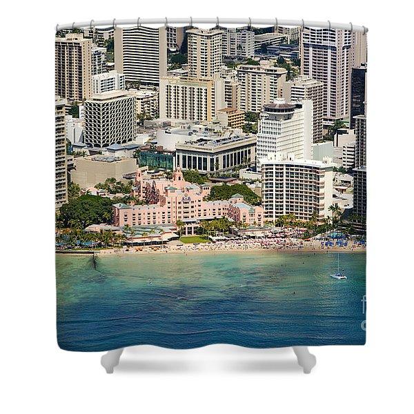 Aerial Of Waikiki Hotels Shower Curtain