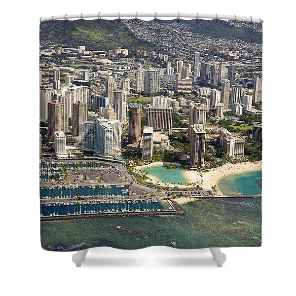 Aerial Of Waikiki Shower Curtain