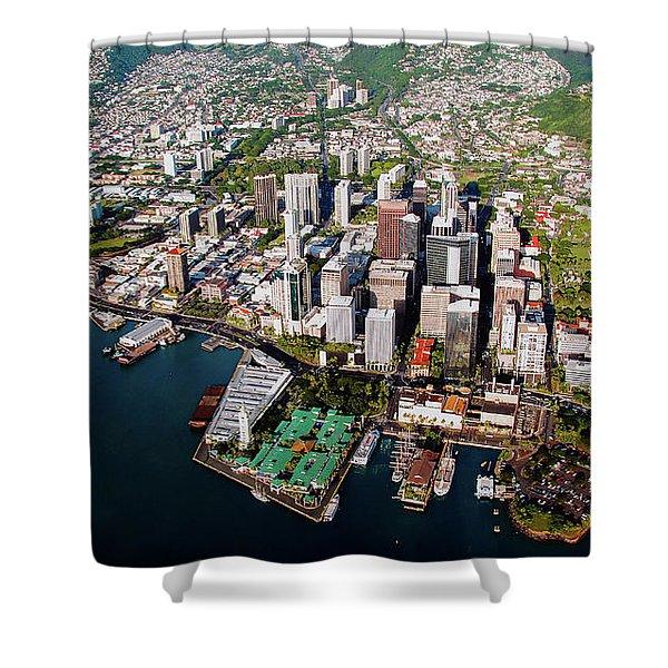 Aerial Panorama - Downtown - City Of Honolulu, Oahu, Hawaii  Shower Curtain