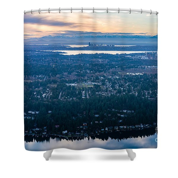 Aerial Seattle And Bellevue Skylines Across Lake Washington And Lake Sammamish Towards The Cascades Shower Curtain