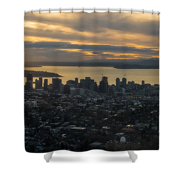 Aerial Seattle Skyline Panorama Looking West Shower Curtain