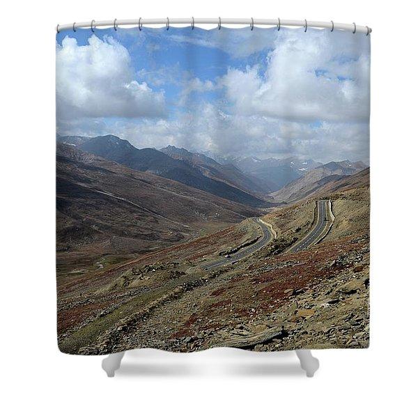 Aerial Shot Of Mountainous Karakoram Highway Babusar Pass Pakistan Shower Curtain
