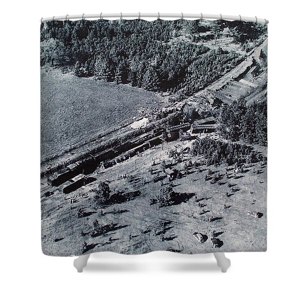 Aerial Train Wreck Shower Curtain