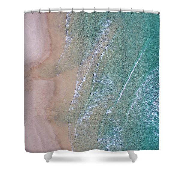 Aerial View Of Beach And Wave Patterns Shower Curtain