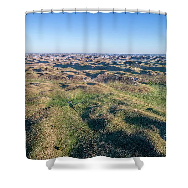aerial view of Nebraska Sand Hills  Shower Curtain