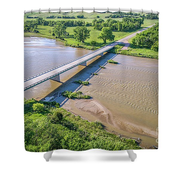 aerial view of Niobrara River in Nebraska Sand Hills Shower Curtain