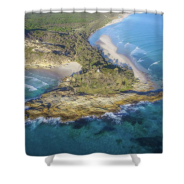 Aerial View Of North Point, Moreton Island Shower Curtain