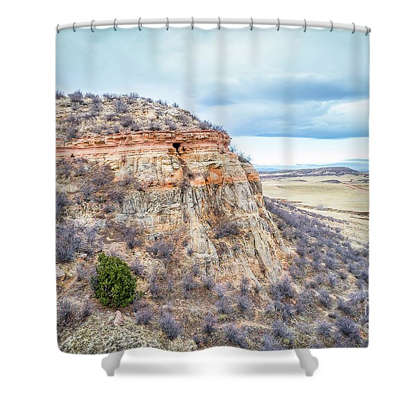 aerial view of northern Colorado foothills  Shower Curtain