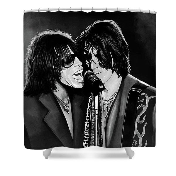 Aerosmith Toxic Twins Mixed Media Shower Curtain