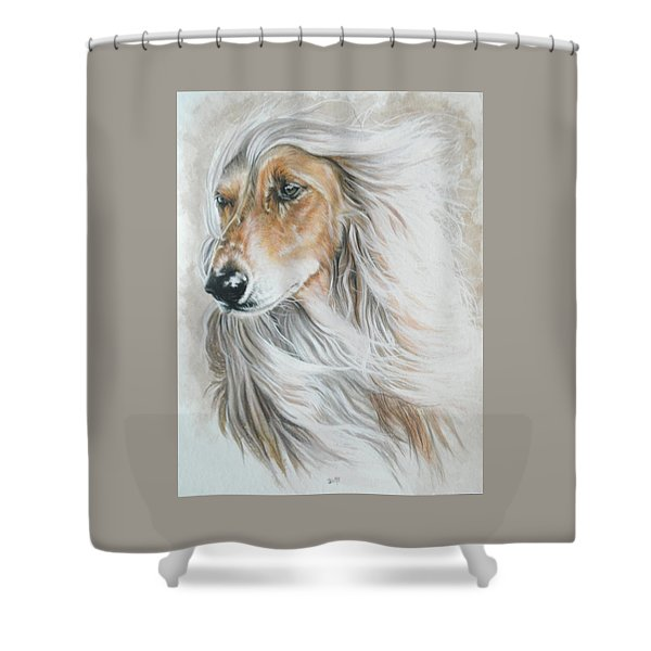 Shower Curtain featuring the mixed media Afghan Hound In Watercolor by Barbara Keith