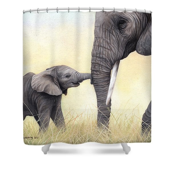 African Elephant And Baby Shower Curtain