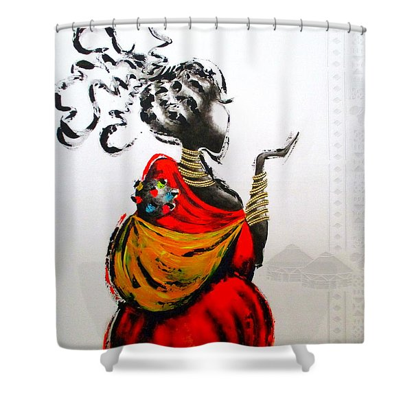 African Lady And Baby Shower Curtain