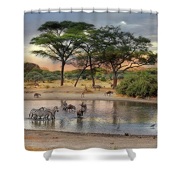 African Safari Wildlife At The Waterhole Shower Curtain