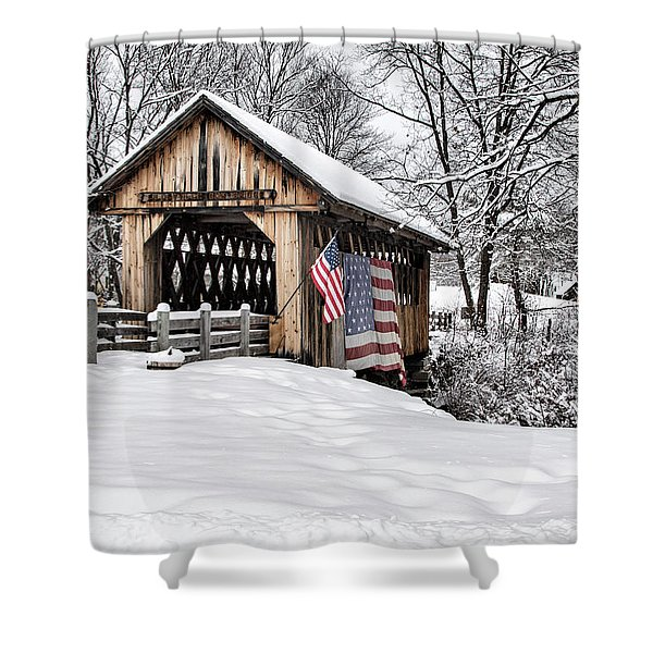 After A Winter Snow Storm Cilleyville Covered Bridge  Shower Curtain