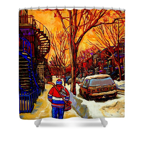 After The Hockey Game A Winter Walk At Sundown Montreal City Scene Painting  By Carole Spandau Shower Curtain