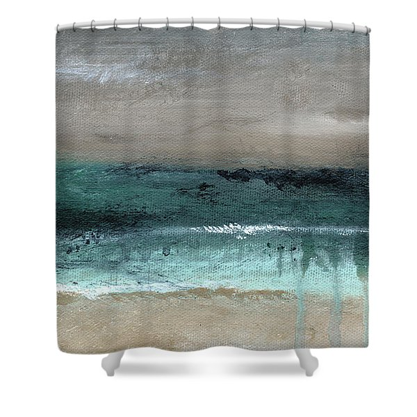 After The Storm 2- Abstract Beach Landscape By Linda Woods Shower Curtain