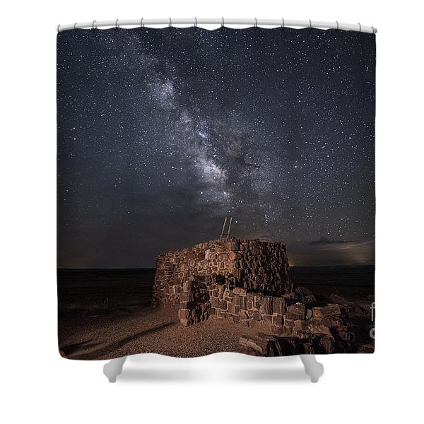 Agate House At Night2 Shower Curtain