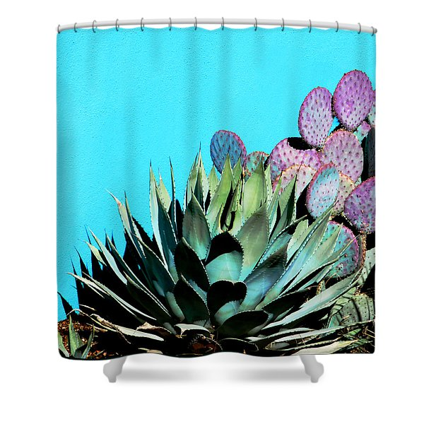 Agave And Prickly Pear Cactus Shower Curtain