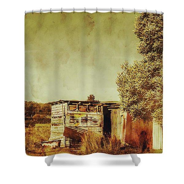 Aged Australia Countryside Scene Shower Curtain