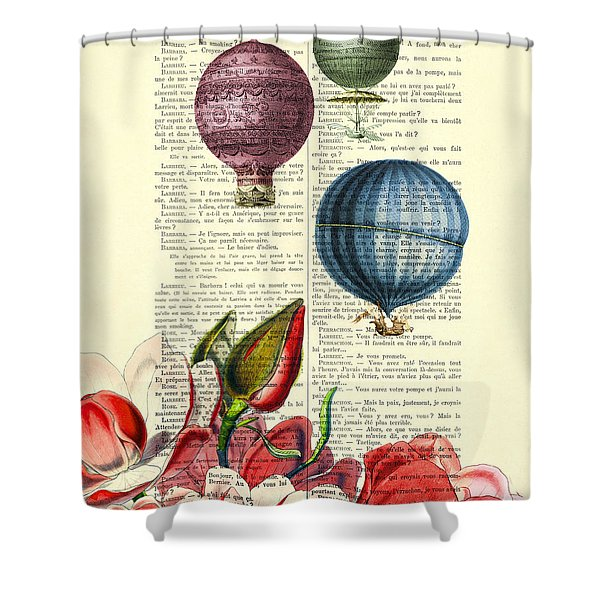 Hot Air Balloons Above Flower Field Shower Curtain