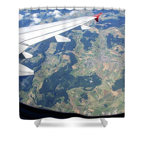Air Berlin Over Switzerland Shower Curtain