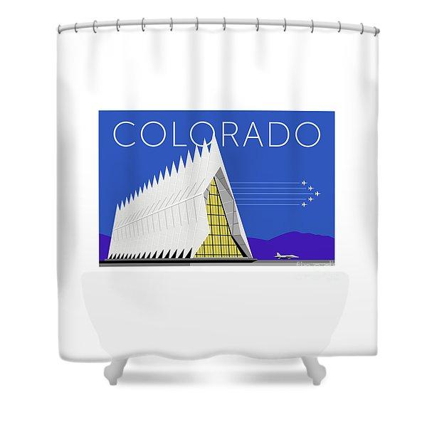 Shower Curtain featuring the digital art Air Force Academy Blue by Sam Brennan