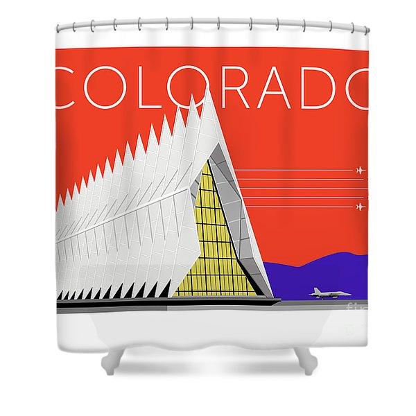 Shower Curtain featuring the digital art Air Force Academy Orange by Sam Brennan