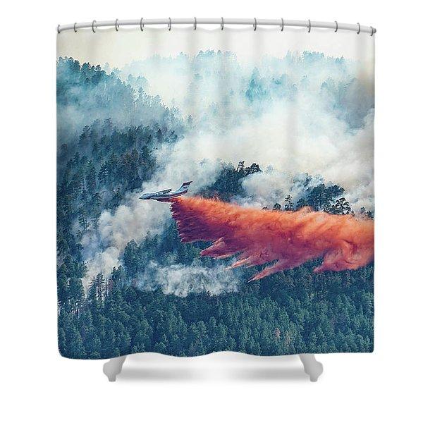Air Tanker On Crow Peak Fire Shower Curtain