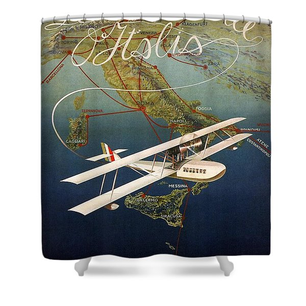 Vintage Retro Biplane Digital Print Shower Curtain Red Airplane Sky Bath Decor