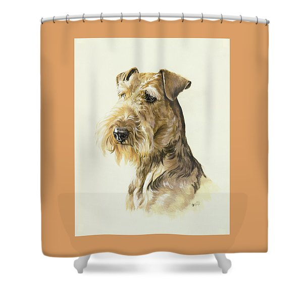 Shower Curtain featuring the painting Airedale In Watercolor by Barbara Keith