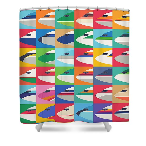 Airline Livery - Small Grid Shower Curtain
