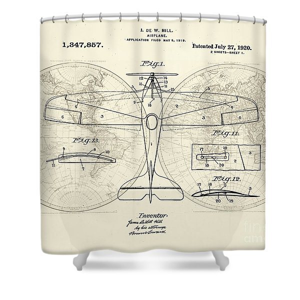 Airplane Patent Collage Shower Curtain