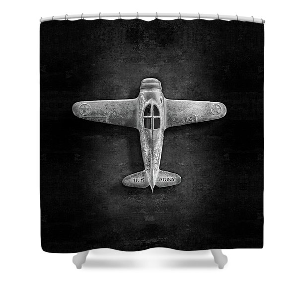 Airplane Scrapper In Bw Shower Curtain