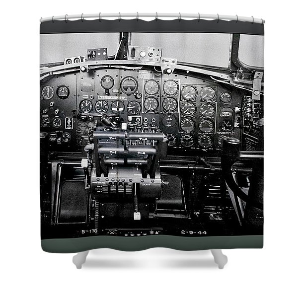 Airplanes Military B 17b Instrument Panel Shower Curtain