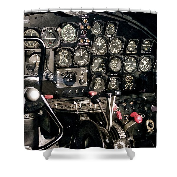Airplanes Military B25 Bomber Instrument Panel Shower Curtain