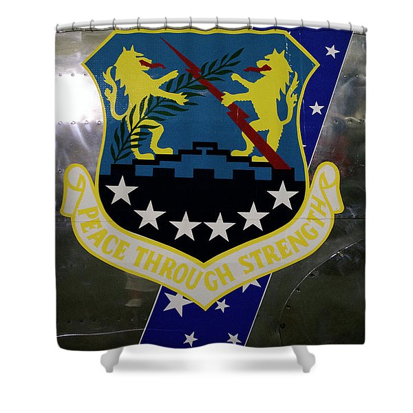 Airplanes Military Peace Through Strength Decal Shower Curtain